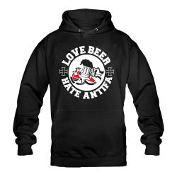 Love Beer - Hate Antifa Kapuzenpullover schwarz